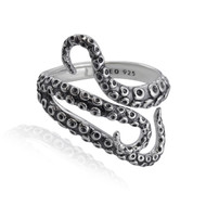 Sterling Silver Octopus Tentacles Wrap Ring, Sizes 6-10