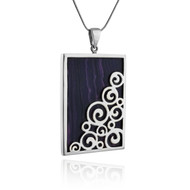 Large Purple Lab Charoite Necklace w/ Swirls - Sterling Silver
