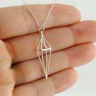 Geometric Diamond Shaped Cage Necklace - Sterling Silver