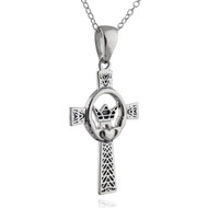 Textured Irish Claddagh Cross Necklace - 925 Sterling Silver