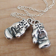 BOXING GLOVES - Sterling Silver Charm Necklace
