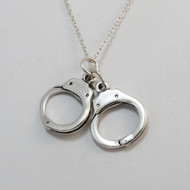 Sterling Silver Handcuff Charm Necklace