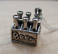 Six Pack of Beer Necklace - Sterling Silver