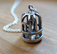BIRD CAGE 3D - Sterling Silver Charm Necklace