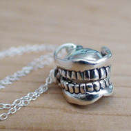 Sterling Silver Dentures Charm Necklace