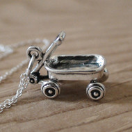Sterling Silver Little Red Wagon Charm Necklace