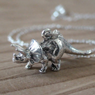 Sterling Silver Dinosaur Charm Necklace - Triceratops