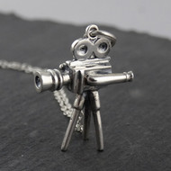 Sterling Silver Camera Charm - 1930s Old Fashioned Movie Camera