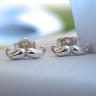 Sterling Silver Mustache Moustache Earrings