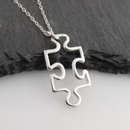 Puzzle Piece Outline Pendant Necklace - 925 Sterling Silver