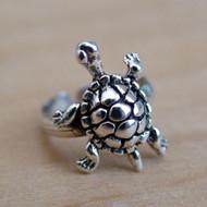 Tiny Turtle Ear Cuff Earring - Sterling Silver