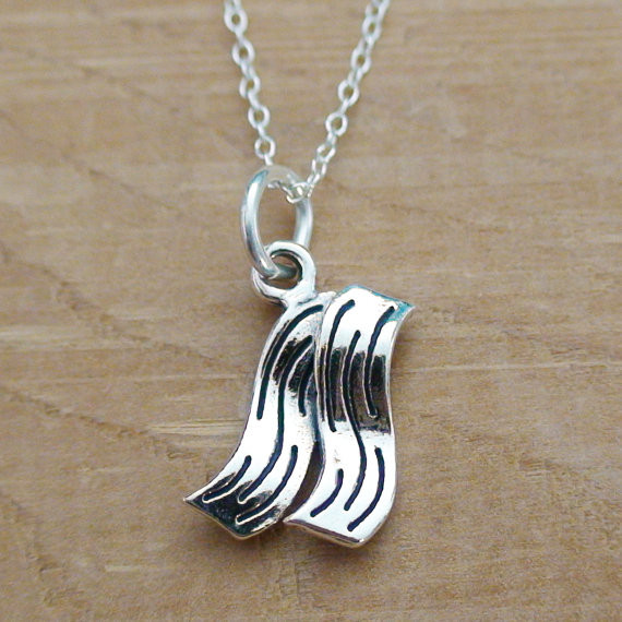bacon sterling silver charm necklace