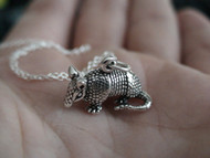 ARMADILLO - Sterling Silver Charm  Necklace