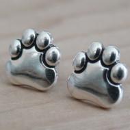 Sterling Silver Paw Print Earrings Paw Earrings