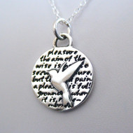 Sterling Silver Hummingbird Inspirational Necklace
