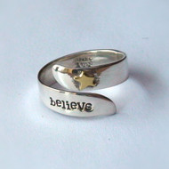 Believe Inspirational Ring in Sterling Silver with Brass Star