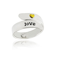 Love Ring - Adjustable - Sterling Silver