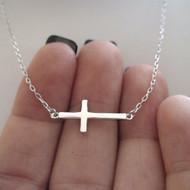 Sterling Silver Simple Sideways Cross Necklace