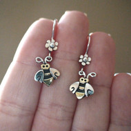 Sterling Silver and Brass Bumble Bee Earrings