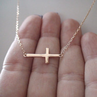 Sterling Silver Rose Gold Sideways Cross Necklace