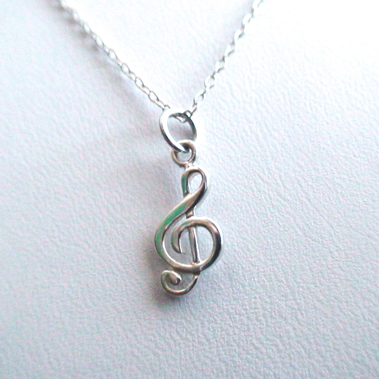 sterling silver tiny treble clef necklace