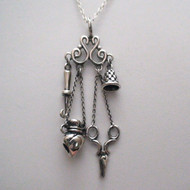 Sterling Silver Chatelaine Sewing Pendant Necklace