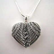Big Sterling Silver Angel Wing Locket