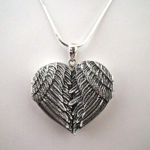 Big Sterling Silver Angel Wing Locket