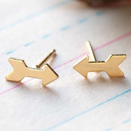24k Gold Plate Arrow Stud Earrings