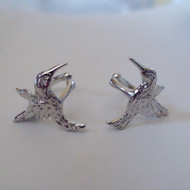 2 Hummingbird Ear Cuffs in Sterling Silver