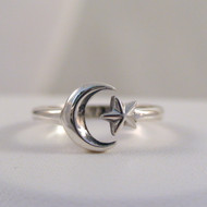 Sterling Silver Adjustable Crescent Moon and Star Ring