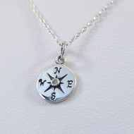 Sterling Silver Compass Charm Necklace with Genuine 1pt Diamond