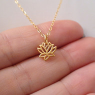 24K Gold Plated Sterling Lotus Charm Necklace