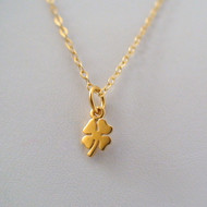 Tiny Four Leaf Clover Necklace - 24k Gold Plated Sterling