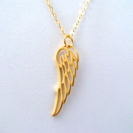 Gold Angel Wing Charm Necklace - 24k Gold Plated Sterling Silver