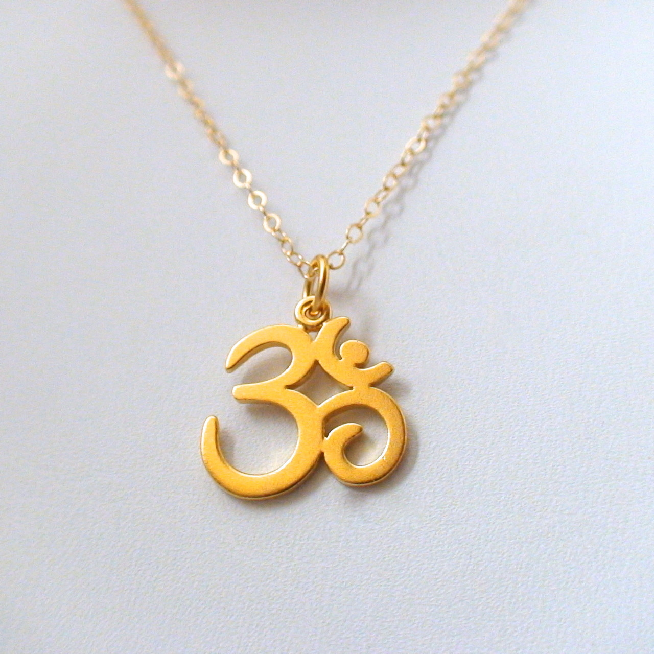 ohm necklace 24k gold plated sterling silver