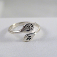 Adjustable Lotus Flower and Ohm Ring in Sterling Silver