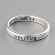 Believe Stacking Ring - Sterling Silver