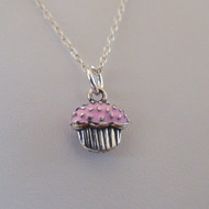 Sterling Silver Pink Cupcake Necklace