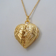 Gold Angel Wing Locket Necklace in Sterling Silver 14k Gold Plate
