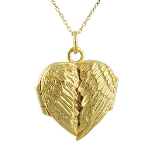 Sterling Silver Gold Plate Angel Wing Locket