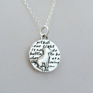 Sterling Silver Pit Bull Charm Necklace