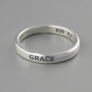 Engraved GRACE Stacking Ring - Sterling Silver