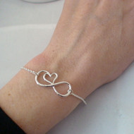 925 Silver infinity Bracelet with Heart