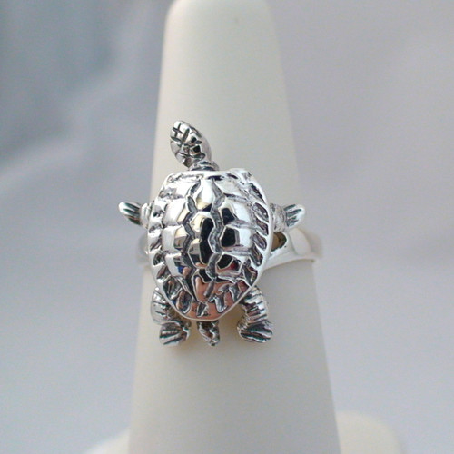 sterling silver movable turtle ring
