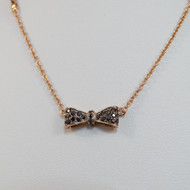Sterling Silver Bow Necklace in Rose Gold Sterling Silver
