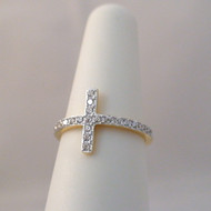 Sterling Silver Sideways Cross CZ Ring Gold