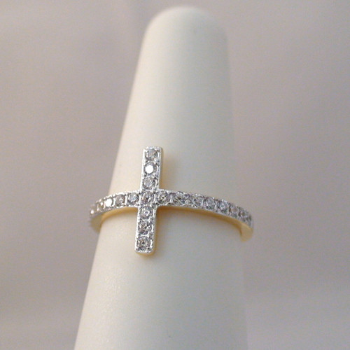 gold sideways cross cz ring sterling silver