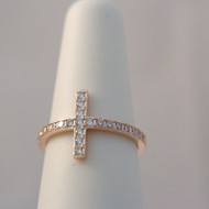Rose Gold Sterling Silver Sideways Cross Ring