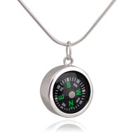 Round Working Compass Charm Necklace - Sterling Silver